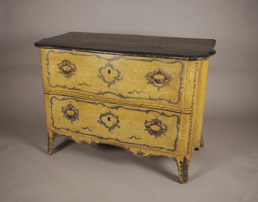 Painted Italian Serpentine Chest Of Drawers