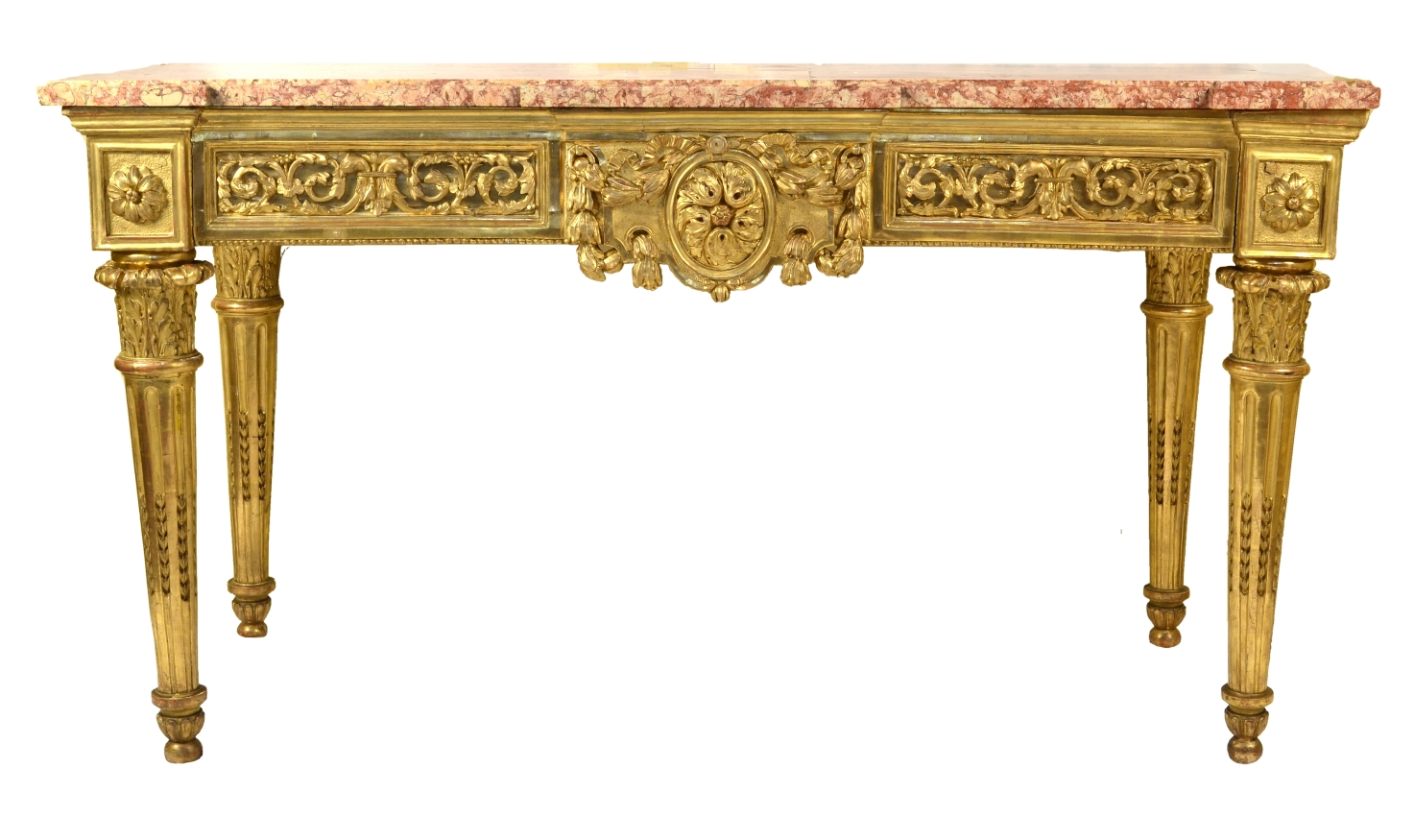 View 2: Fine Italian Carved and Giltwood Neoclassical Console Table, c.1790