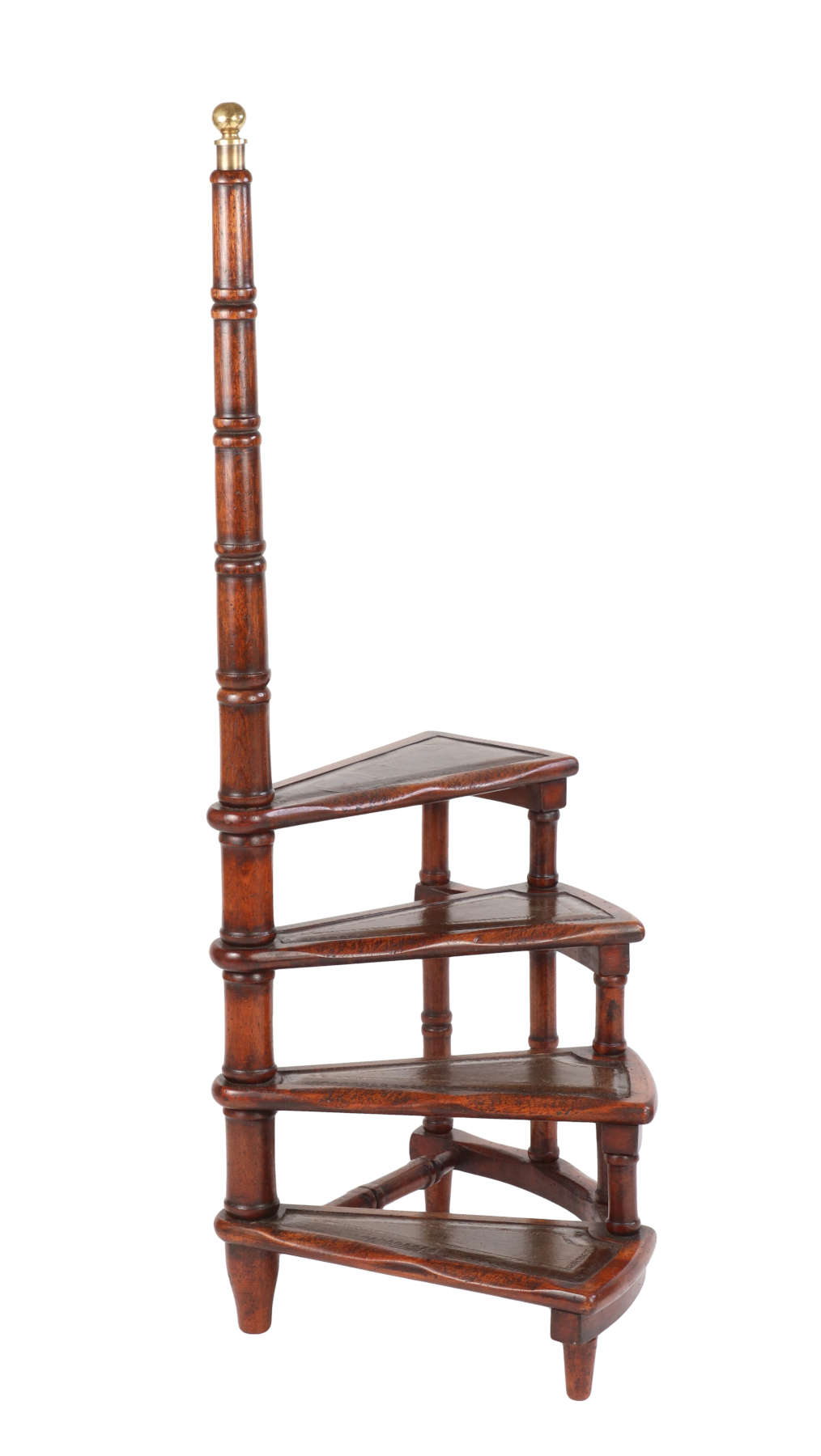 George III Style Mahogany Spiral Library Steps
