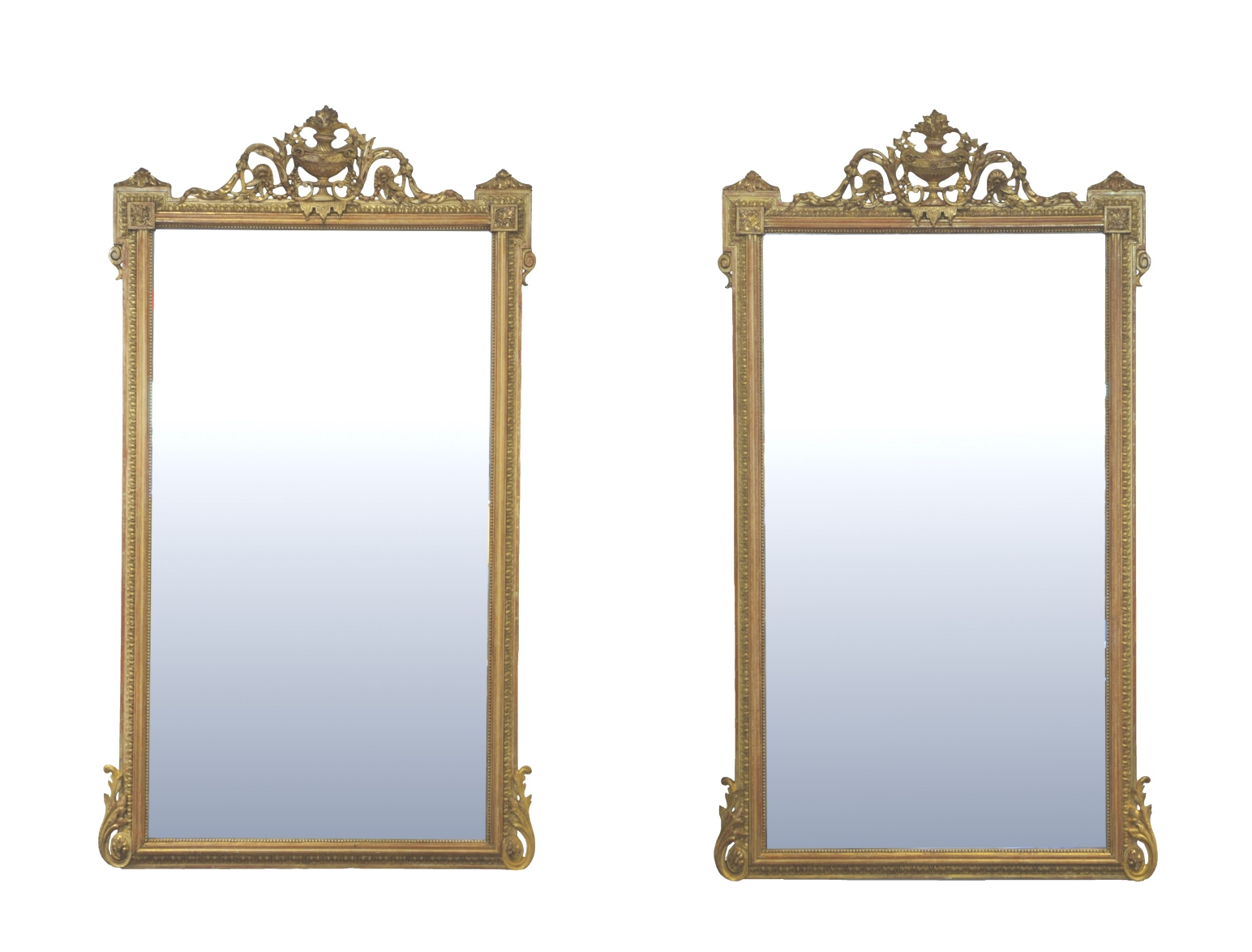 Pair of Louis XVI Style Giltwood Pier Mirrors, c. 1840