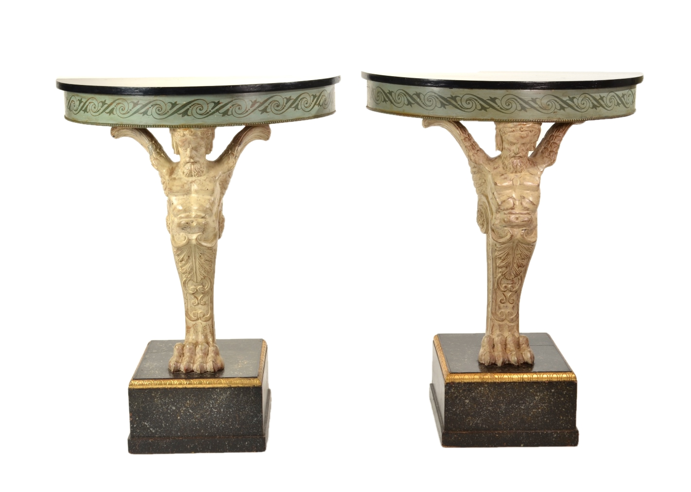 Pair of Carved and Painted Demilune Console Tables, 20th c.