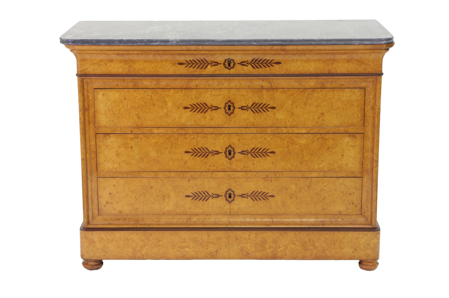French Restauration Burr Ash Chest of Drawers, c. 1825