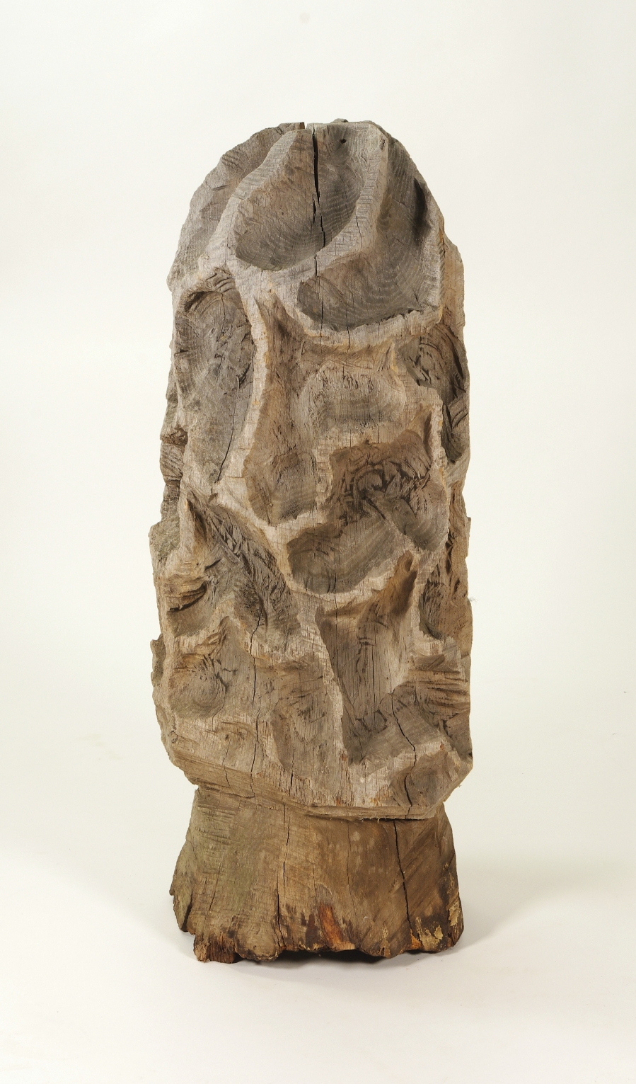 View 2: Folk Art Carved Morel Mushroom Sculpture, Mid 20th c.