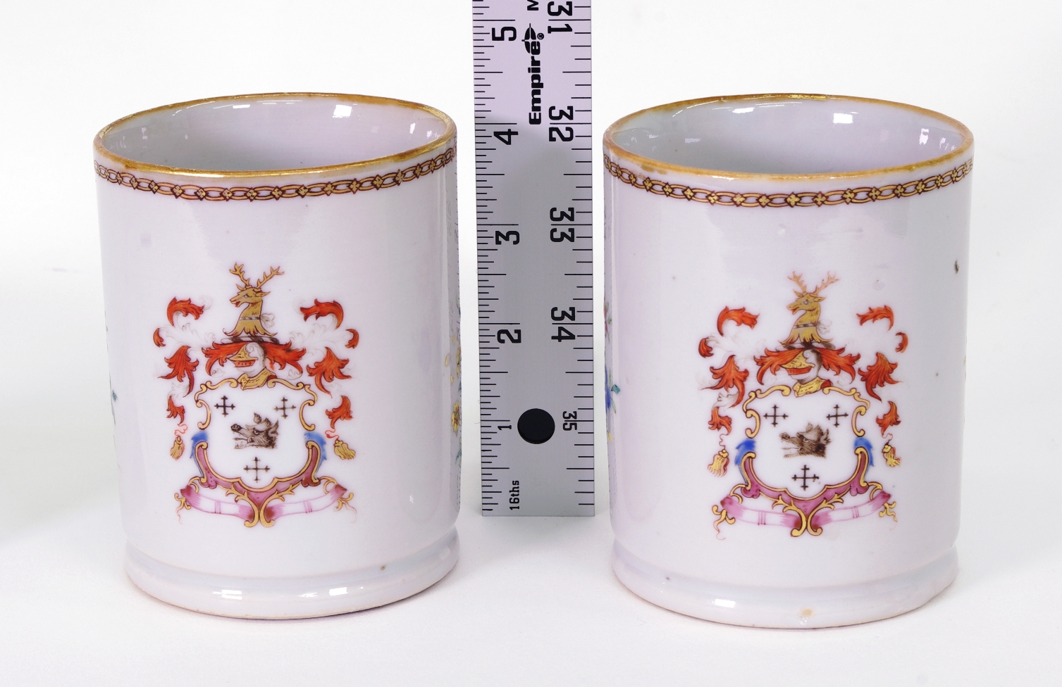 View 7: Pair of Chinese Export Armorial Small Mugs, c. 1750