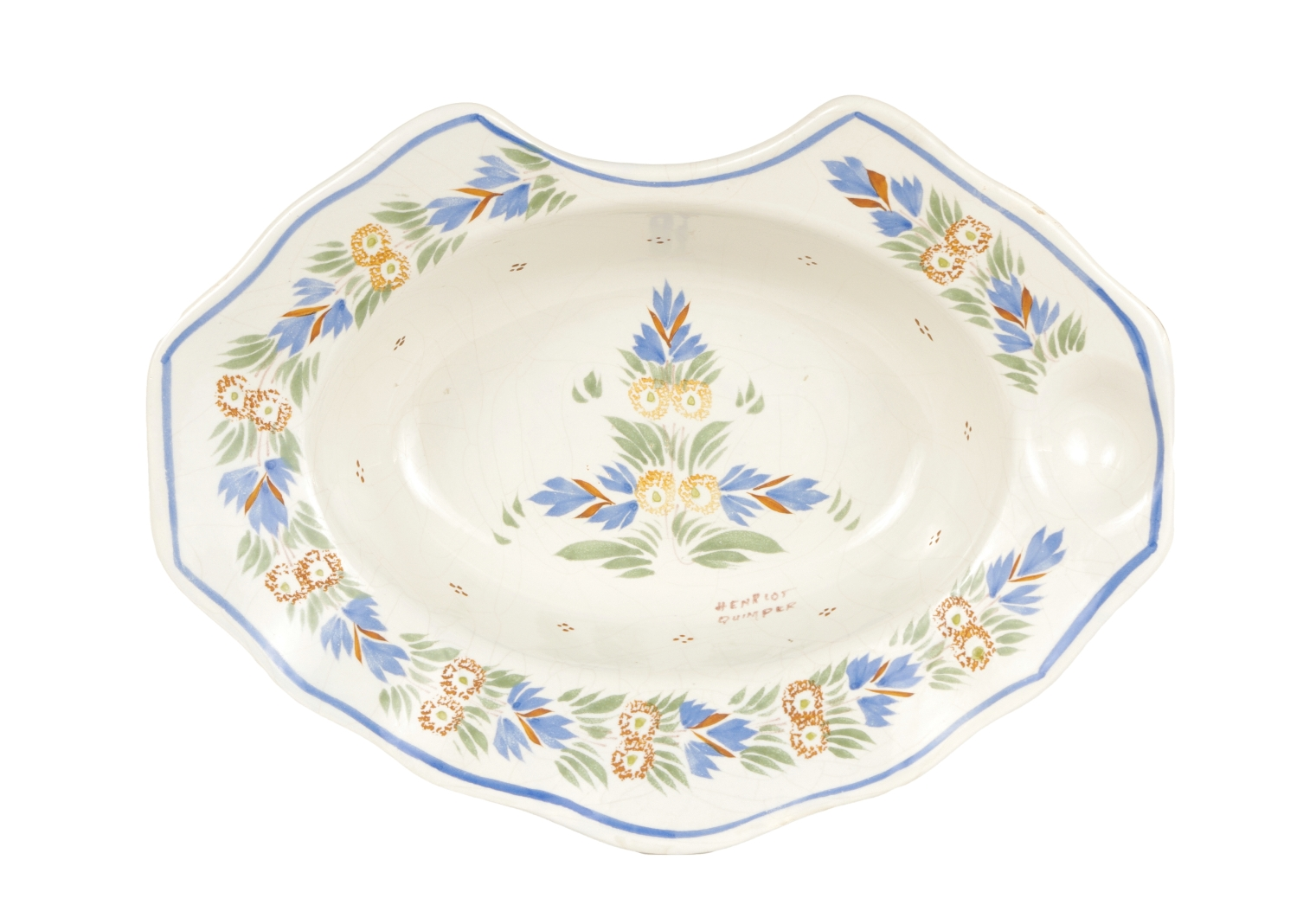 French Faience Barber Bowl, Quimper, c. 1930