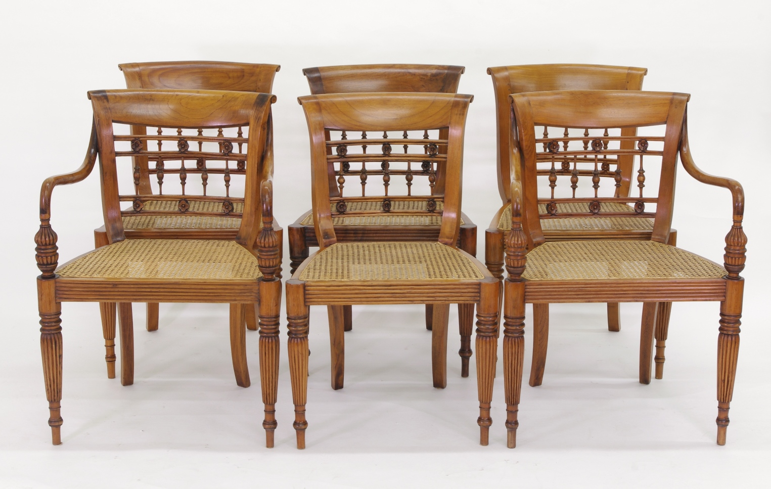 Set of Six British Colonial Dining Chairs, c. 1830