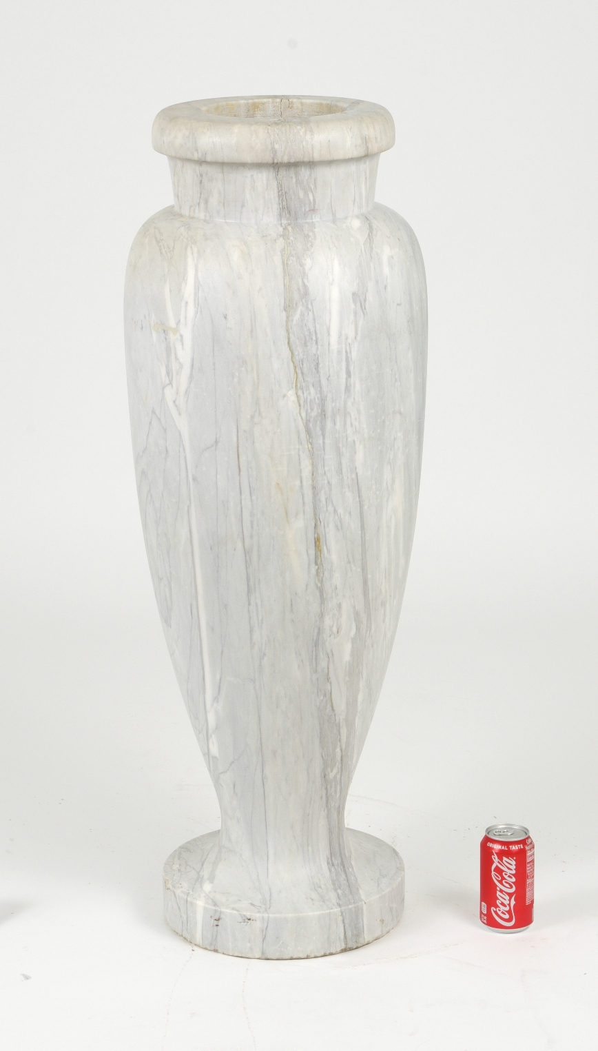 Art Deco Carrara Marble Floor Vase, c. 1930