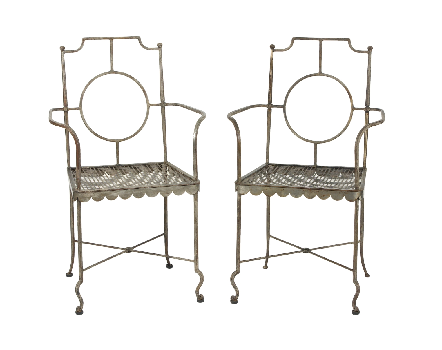 Pair of Poillerat Style Wrought Iron Garden Chairs