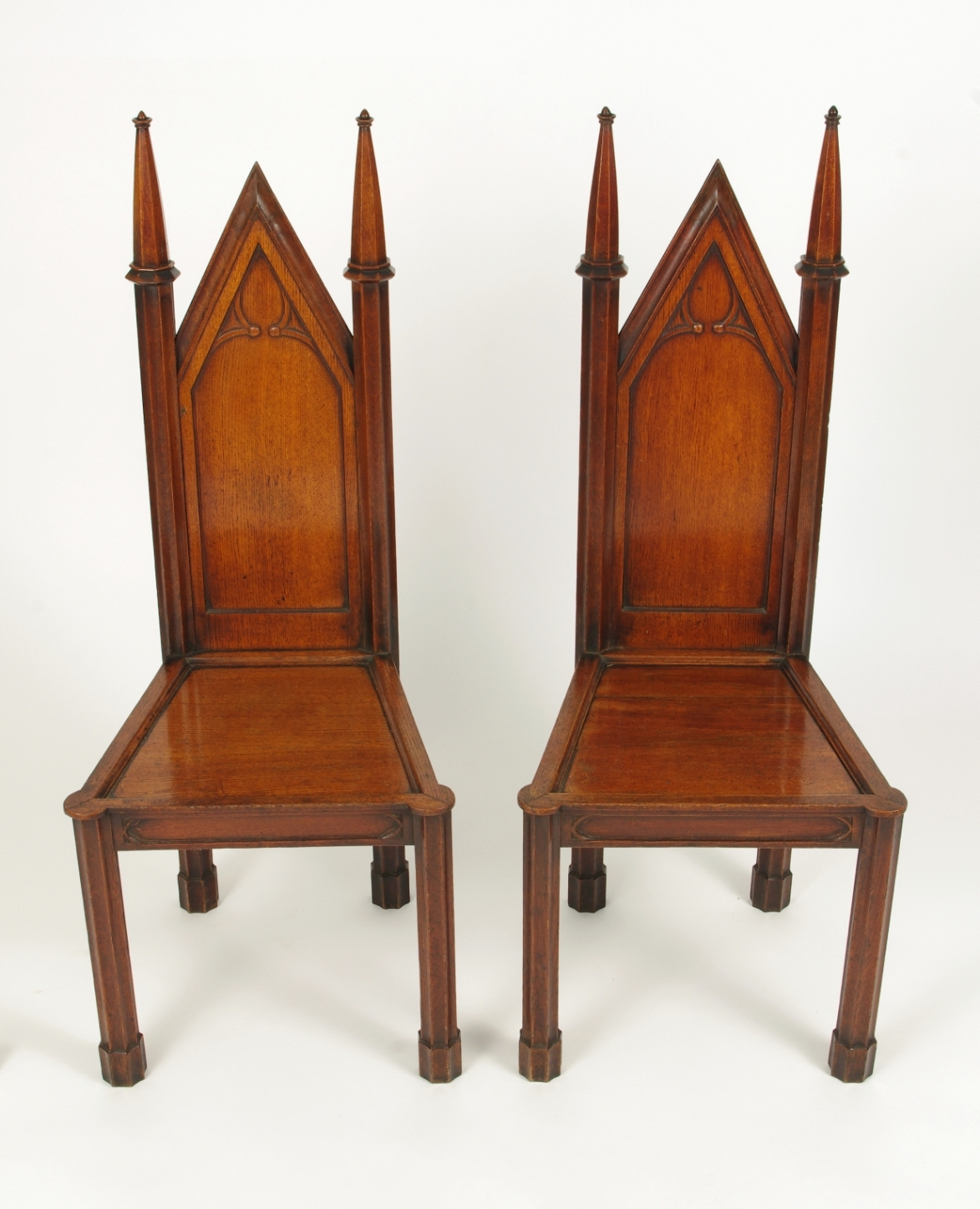 View 3: Pair of George III Oak Gothic Hall Chairs, c. 1800