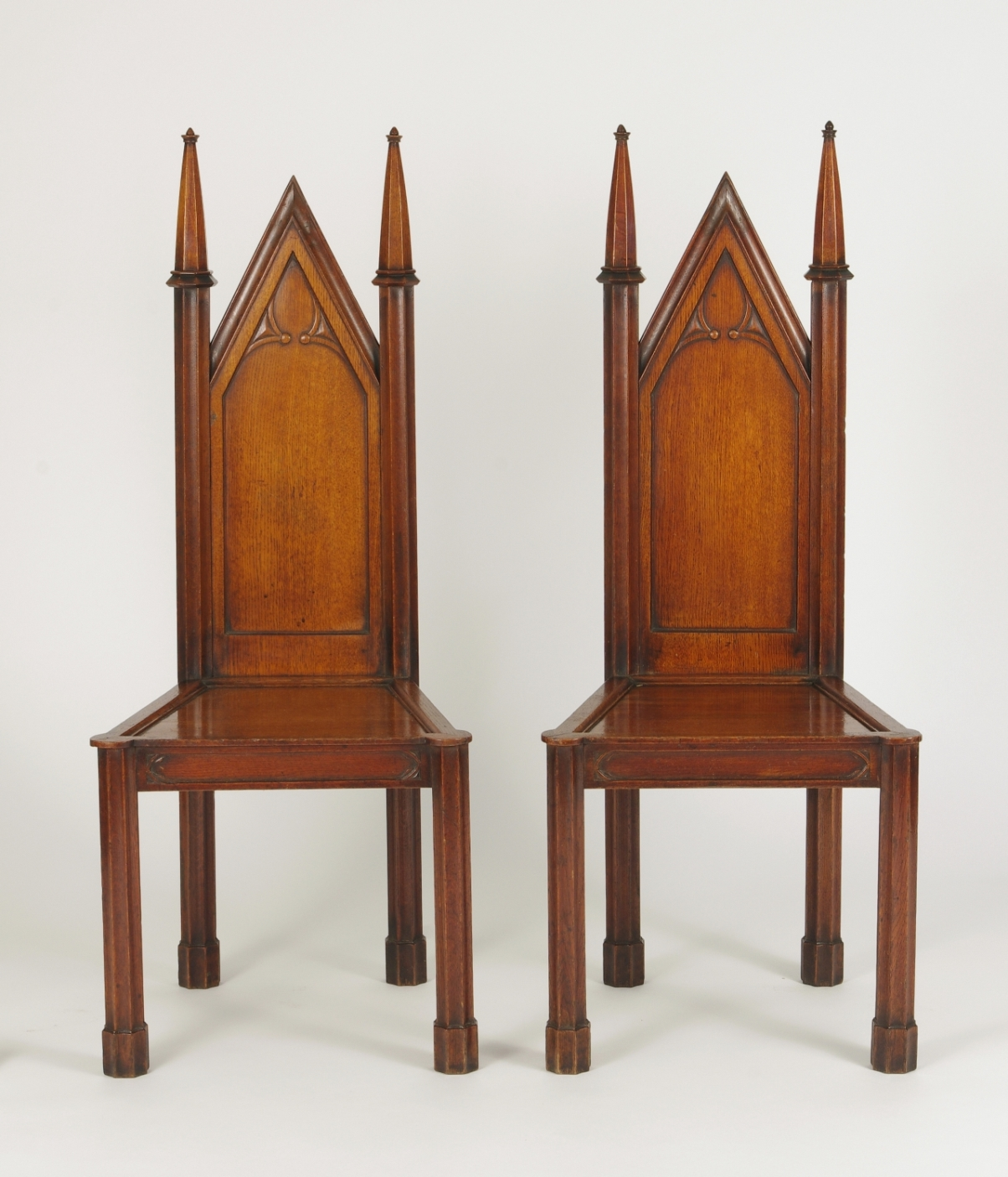 View 10: Pair of George III Oak Gothic Hall Chairs, c. 1800