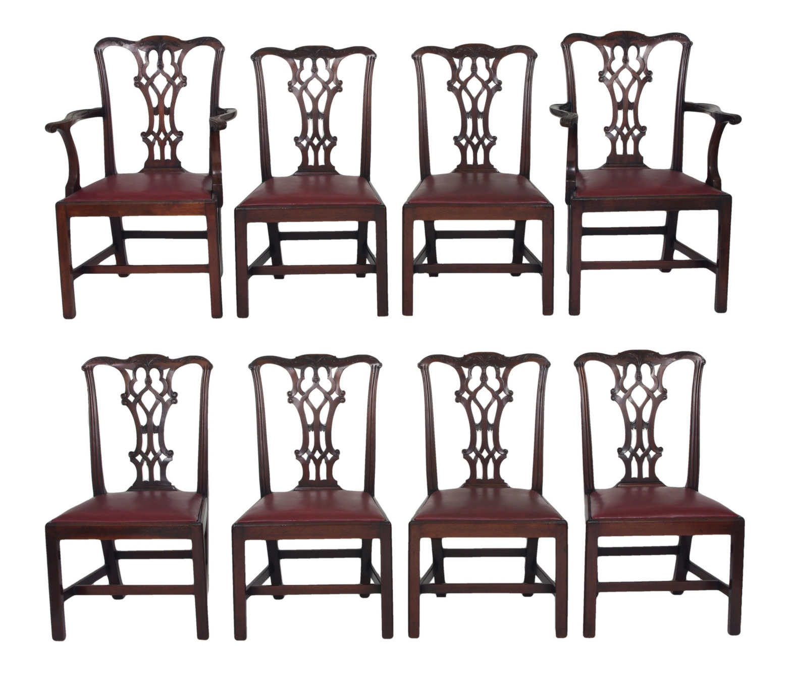 Set of Eight Chippendale Style Mahogany Dining Chairs (6+2), early 19th c.
