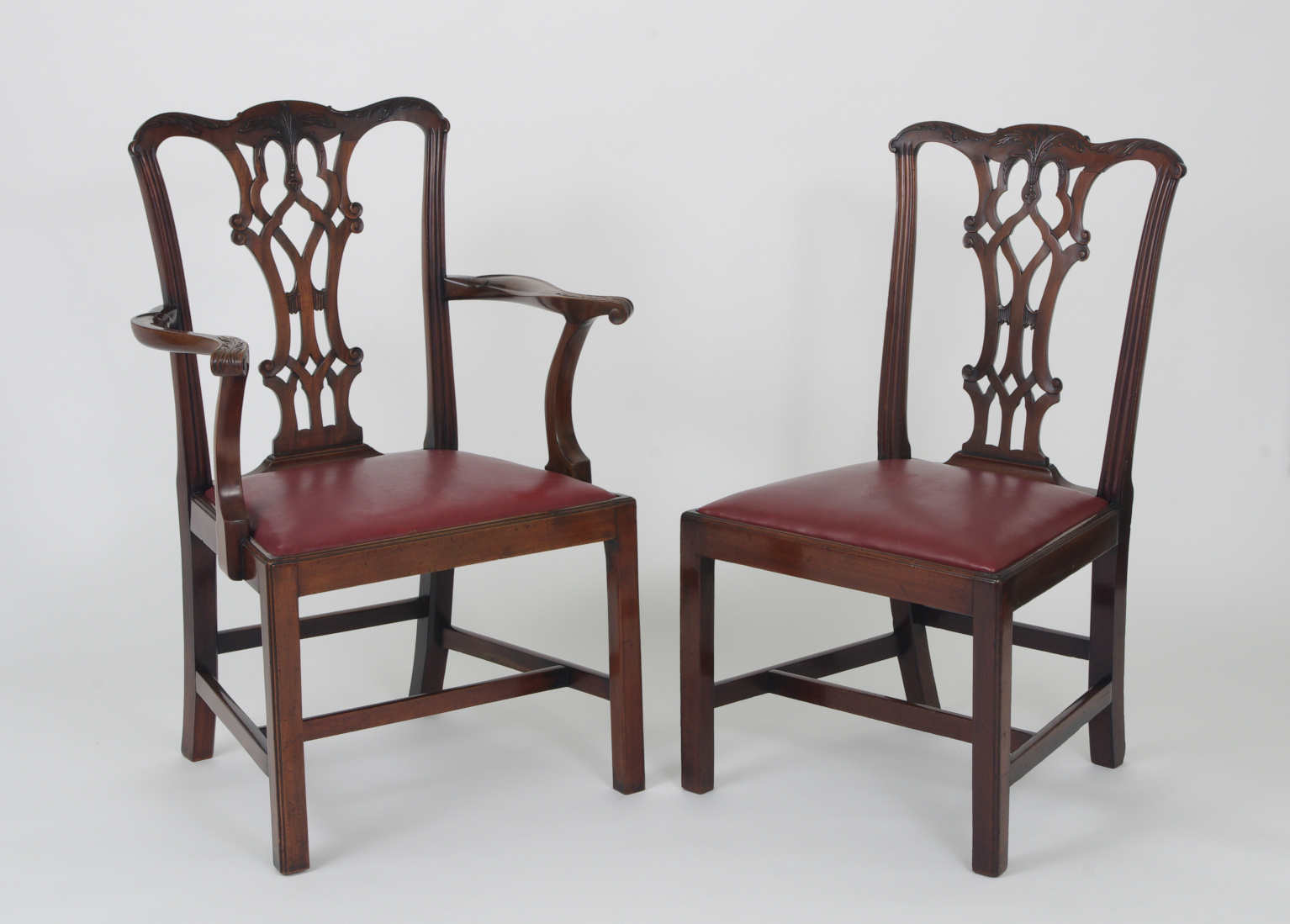 View 2: Set of Eight Chippendale Style Mahogany Dining Chairs (6+2), early 19th c.