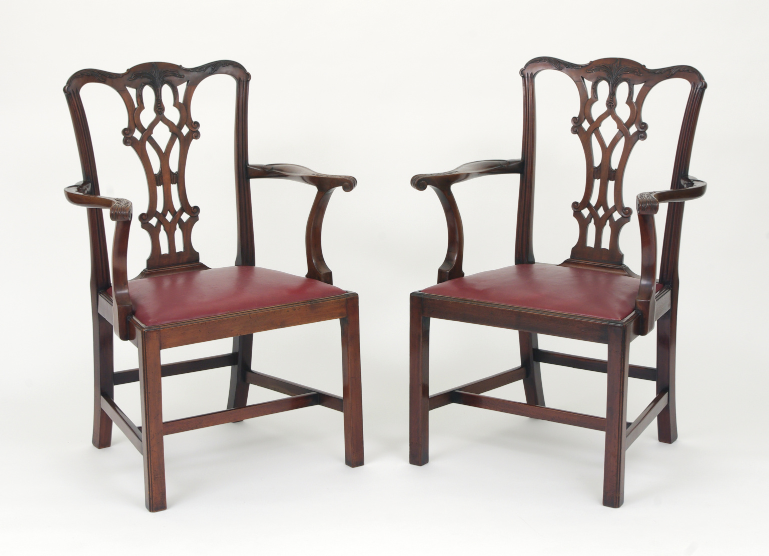 View 8: Set of Eight Chippendale Style Mahogany Dining Chairs (6+2), early 19th c.