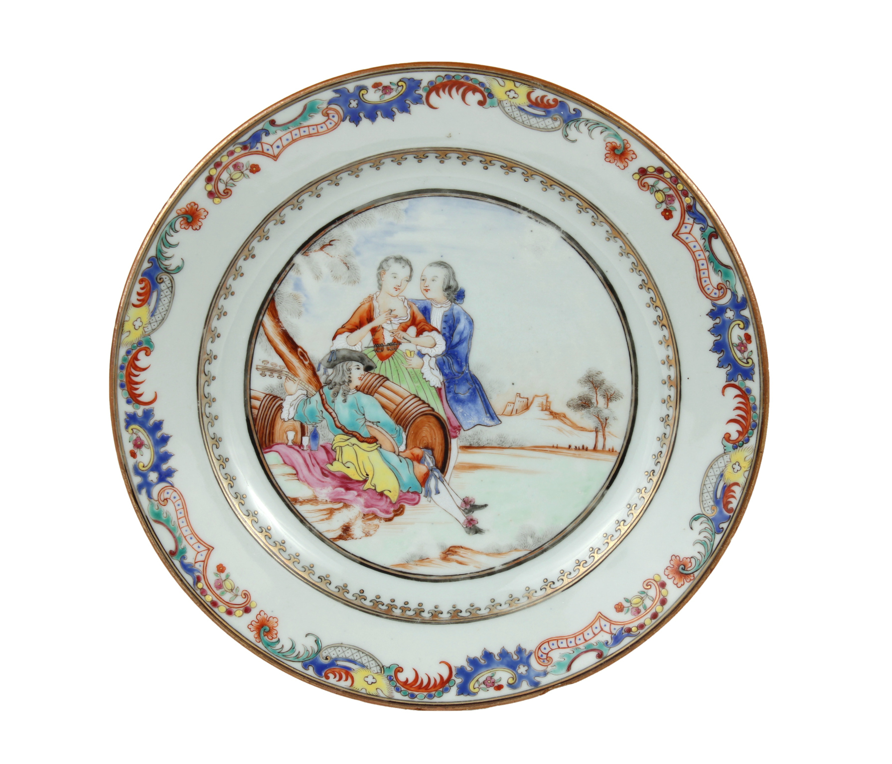 Chinese Export Plate Decorated with a Music Party, c. 1745