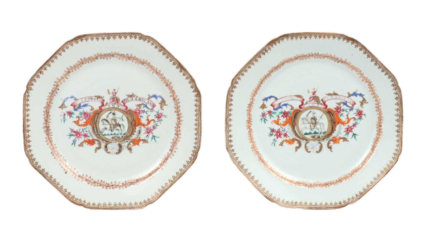 Pair of Chinese Export Armorial Plates, c. 1760