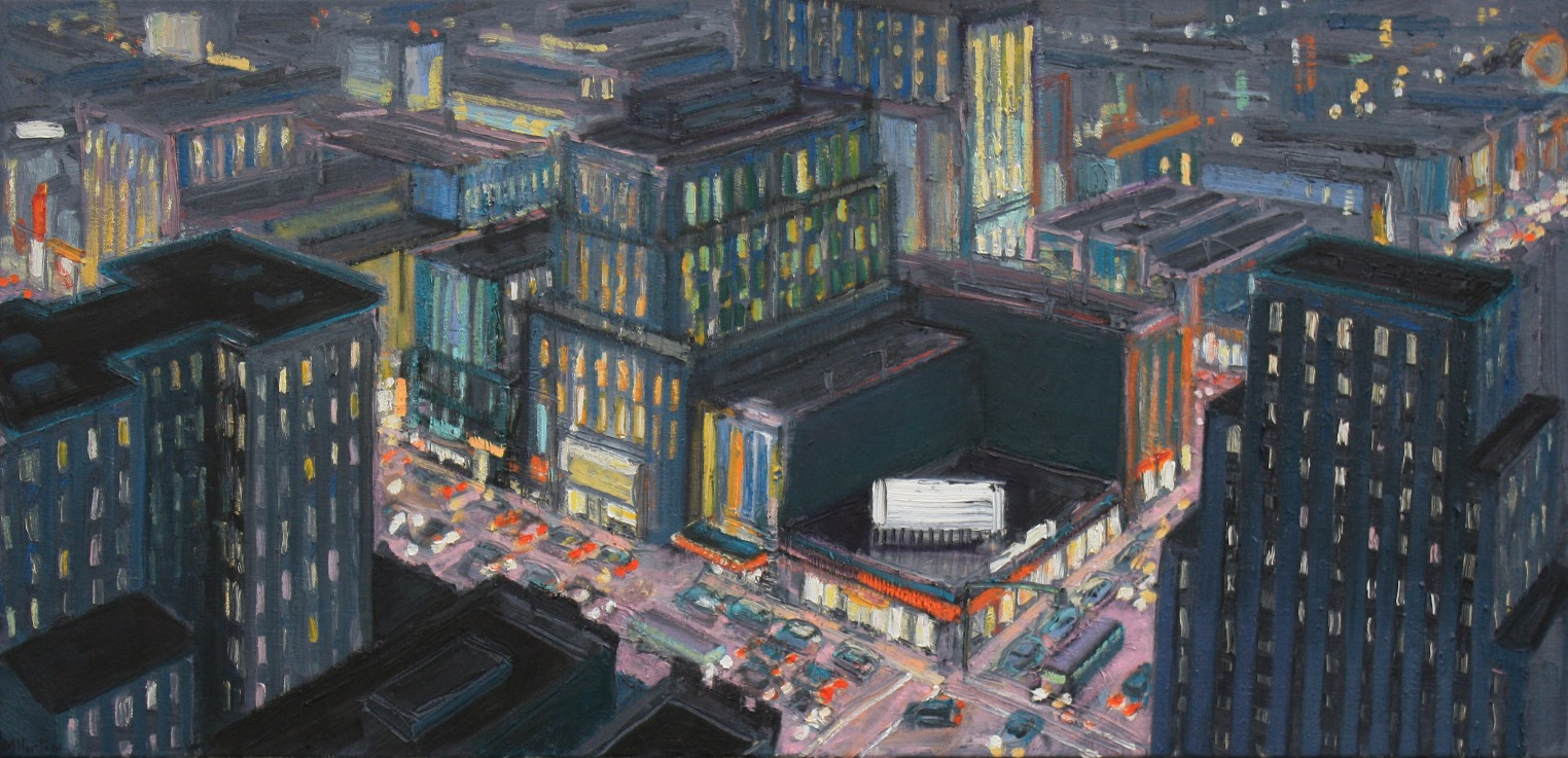 "City Corner at Night   28"" x 58"""