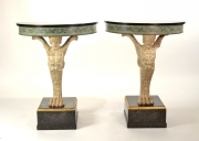 View 12: Pair of Carved and Painted Demilune Console Tables, 20th c.