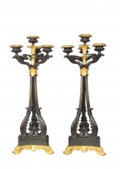 View 1: Pair of Louis-Philippe Bronze and Ormolu Candelabra, c. 1840