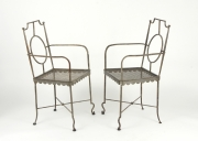 View 2: Pair of Poillerat Style Wrought Iron Garden Chairs