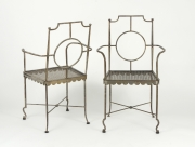 View 3: Pair of Poillerat Style Wrought Iron Garden Chairs
