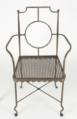 View 7: Pair of Poillerat Style Wrought Iron Garden Chairs