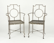 View 8: Pair of Poillerat Style Wrought Iron Garden Chairs