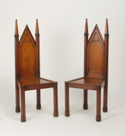 View 2: Pair of George III Oak Gothic Hall Chairs, c. 1800