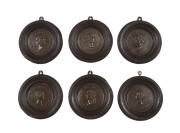Set of Six Grand Tour Spelter Medallions, Mid 19th c.