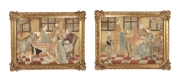 Pair of Folk Art Dressed Pictures, Continental, c. 1780