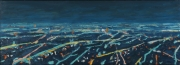 "Aerial View of City Horizon at Night, 18""x50"""
