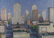 "Aerial View of Downtown with Trees 40"" x 56"""
