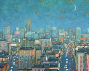 "Aerial View of City at Evening   40"" x 50"""