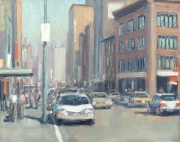 "City Street with White Car 11"" x 14"""