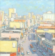 "Busy City in Bright Sunlight 12"" x 12"""